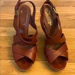 YSL burgundy wedge sandals